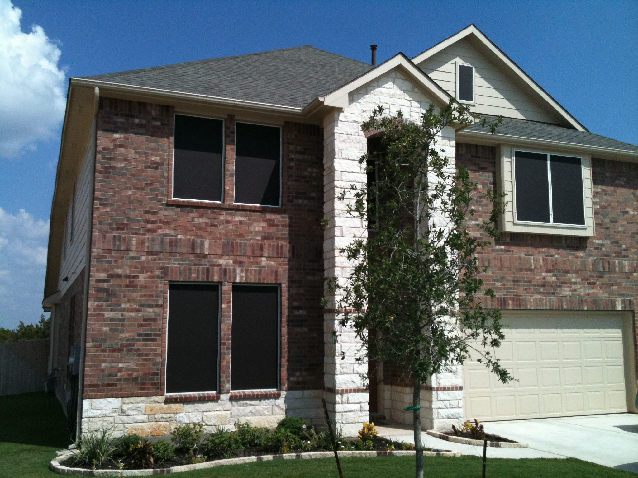 These Are Chocolate Solar Screens 90 Percent With White Framing This Is The Right Color Combination For Round Rock Texas
