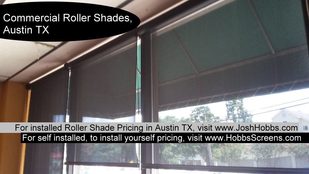 Example of three Austin TX commercial roll shade screens.