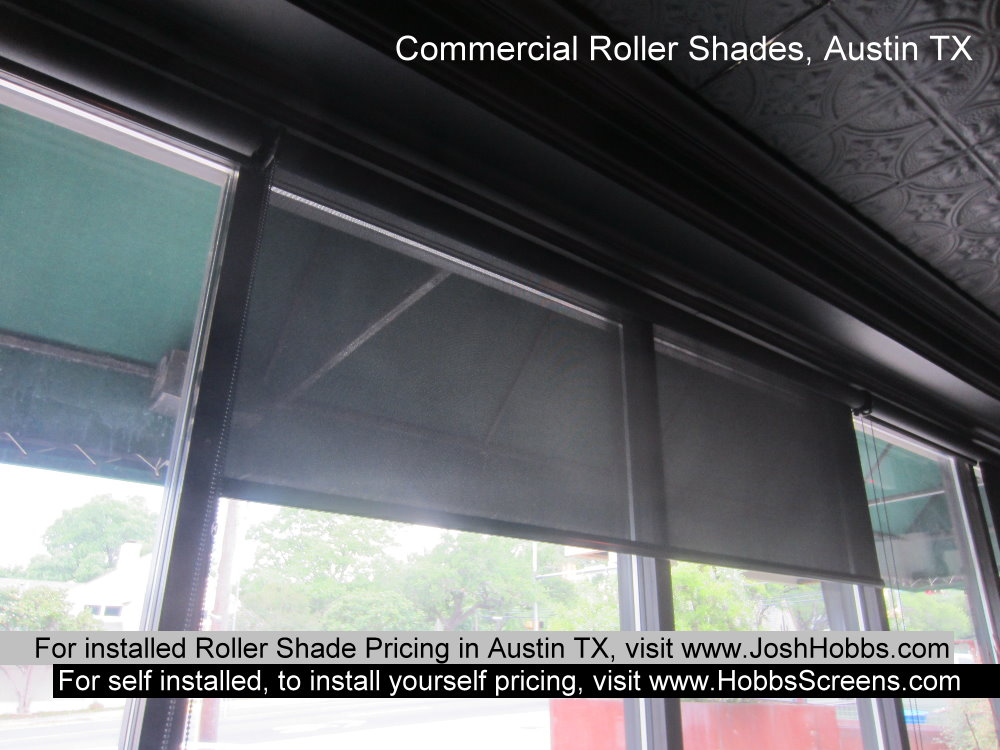 Example of some Austin TX Example of three Austin TX commercial roll shade screens. 8' wide. Black 92% internal fabric.