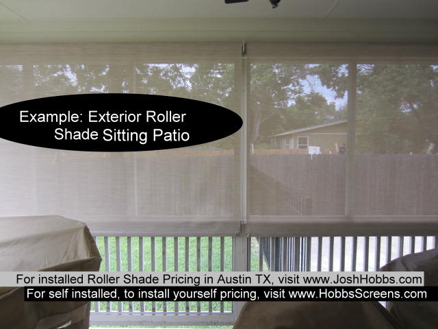 Patio Roller Shades Austin TX install Beige / White fabric. 92% Shade.Patio Roller Shades Austin TX install